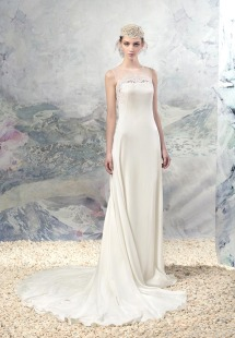 Style #1627L, chiffon sheath wedding dress with lace accents, available in white and cream