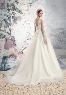 Style #1628L, tulle ball gown wedding dress with beaded lace illusion neckline and sleeves, available in ivory