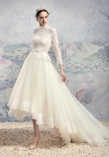 Style #1629, high neck lace blouse with elbow sleeves and high-low tulle skirt, available in white and ivory