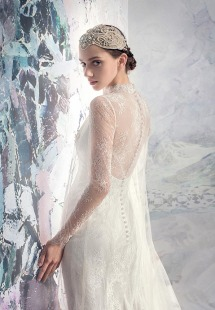 Style #1630Lab, lace and tulle sheath wedding dress, available in ivory + ivory, ivory + nude lining