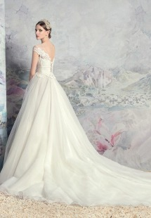Style #1631L, tulle ball gown wedding dress with pleated bodice and lace accents, available in ivory