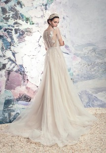 Style #1632L, tulle A-line wedding dress with floral appliques and satin belt, available in ivory+nude lining