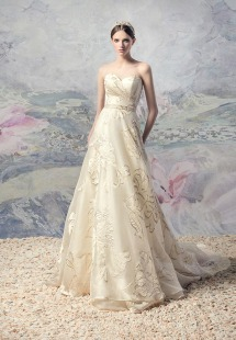 Style #1633 Premium, A-line gold wedding dress with sweetheart neckline, available in gold