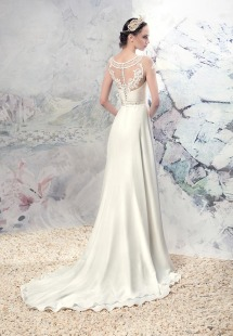 Style #1634L, A-line wedding gown with embroidered illusion neckline, available in ivory