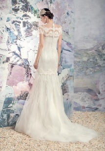 Style #1636Lab, mermaid lace wedding dress with beaded fringe, available in ivory