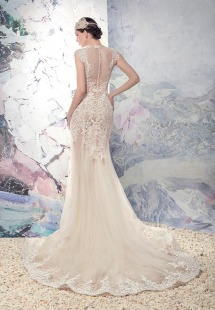 Style #1637L Premium, mermaid lace illusion wedding dress with tulle skirt, available in ivory + nude lining