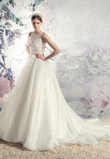 Style #1638L, a-line wedding dress with organza skirt and beaded lace bodice, available in cream