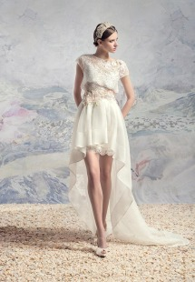 Style #1640, lace short wedding dress with separate high low organza skirt with train and lace cap sleeve blouse, available in ivory