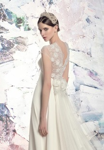 Style #1642L, A-line wedding dress with lace back and keyhole neckline, available in light ivory