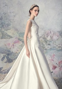 Style #1643L Premium, taffeta A-line wedding dress with side pockets and lace embroidery, available in ivory
