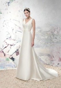 Style #1645L, taffeta plunging neckline fit and flare wedding dress, available in ivory
