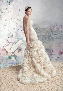 Style #1646 Premium, taffeta mermaid wedding dress with rosette skirt, available in ivory and ivory-pink