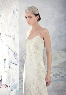 Style #1647, sequin lace sheath wedding dress, available in ivory