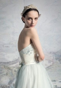Style #1648L, tulle and taffeta ball gown wedding dress with floral detail, available in light blue, light pink, ivory