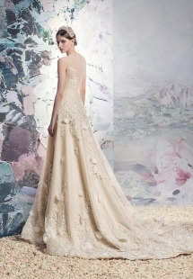 Style #1649L, A-line wedding gown with embroidery and 3-D floral appliques, available in white, ivory, champagne (photo)