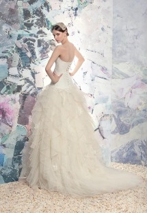 Style #1651L, ball gown wedding dress with layered tulle and lace skirt, available in ivory