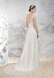 Style #1652L Premium, lace sheath wedding gown with cap sleeves and plunging back, available in cream