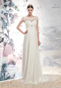 Style #1652LS, lace sheath wedding gown with cap sleeves and plunging back, available in ivory