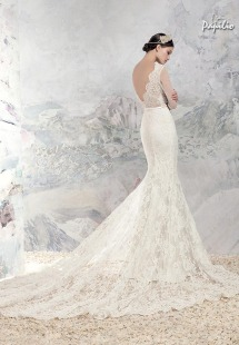Style #1653aL, lace mermaid wedding dress with sheer bodice and illusion long sleeves, available in ivory