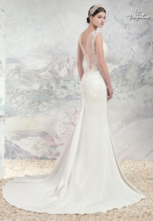 Style #1655Lab, fitted wedding dress with plunging neckline, illusion low back and lace appliques, available in ivory