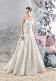 Style #1656, jacquard A-line wedding gown with pleated skirt and beaded belt, available in ivory