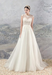 Style #1658, organza A-line wedding dress with lace bodice and cap sleeves, available in ivory