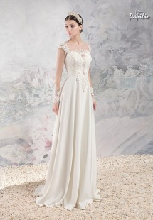 Style #1659, sheath wedding gown with plunging neckline, illusion long sleeves and lace appliques, available in ivory