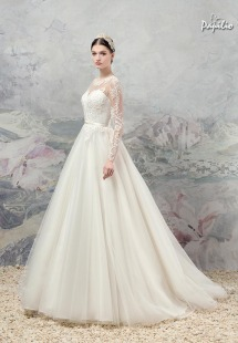 Style #1660, ball gown wedding dress with illusion lace neckline and sleeves, available in cream