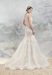 Style #1661, lace mermaid wedding dress with sheer bodice, available in ivory+nude lining