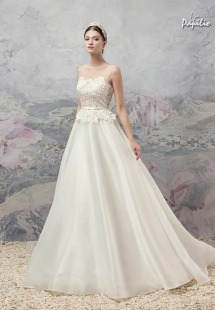 Style #1662, A-line wedding dress with an illusion neckline lace bodice, available in ivory