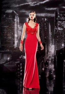 Style #100, floor-length empire silk dress with long sleeves mesh lace on top and the cuff, available in red