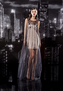 Style #101-a, short silk dress with sheer mesh with flower embroidery on the top, available in black, milk and nude