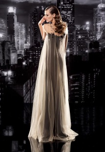 Style #101-b, floor-length silk dress with sheer mesh with flower embroidery on the top, available in black, milk and nude