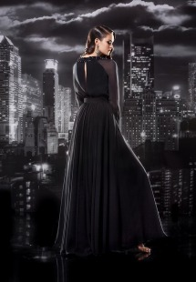 "Style #109, long sleeves floor length dress with keyhole back, ""T"" shape embellishment to the waist, available in black, grey"