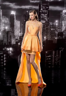 Style #114, high-low dress with mesh overlay on top decorated with 3D flowers, available in orange, olive, milk and red