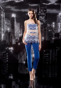 Style #117, long fitted pants, fringe embellishment with clear spaghetti strap on top, available in black, blue, milk, pink-ivory, green, light blue, red and white