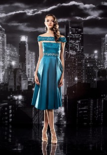 Style #120, off the shoulders cocktail dress, slits revealing between chest and waist, with mesh overlay decorated with embellishment lace, available in cool blue