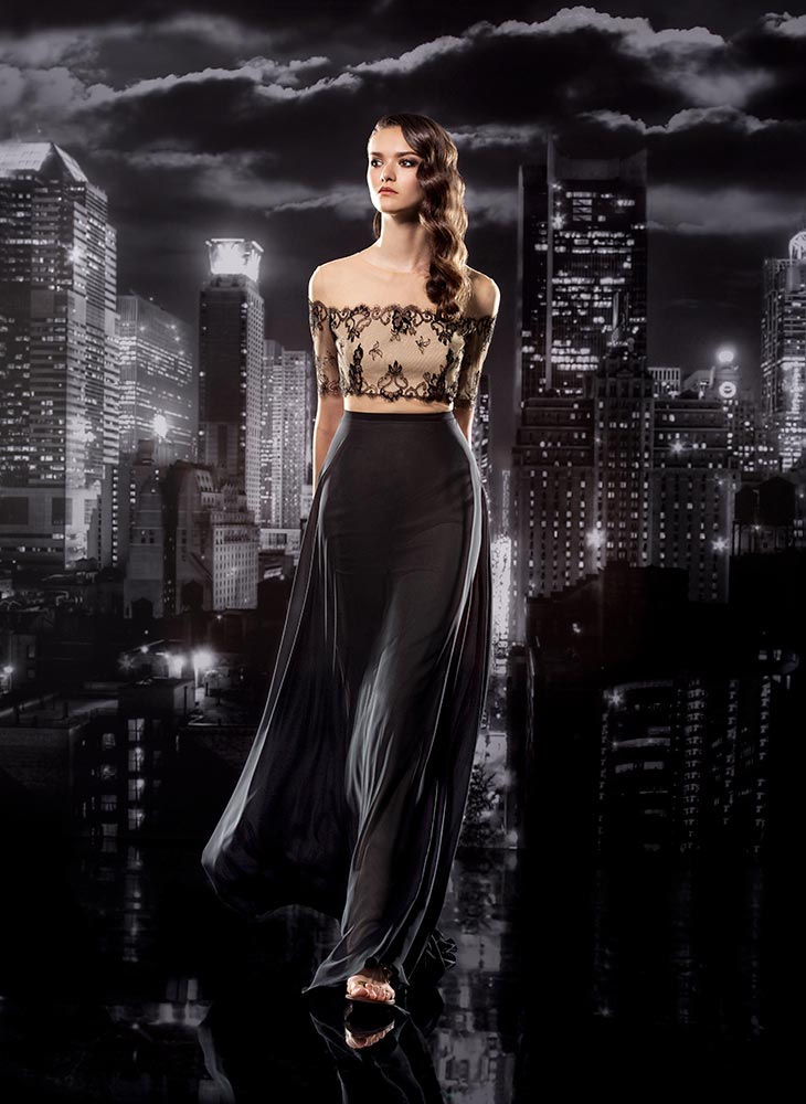 Style #121, illusion off the shoulder lace top covering the chest with a chiffon skirt, available in black