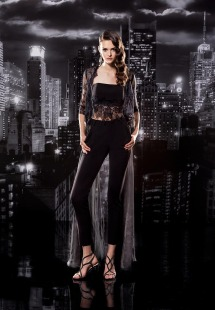 Style #130, crop satin top with lace embellishments on the bottom, lace cardigan with 3/4 sleeves and organza fabric to the floor, straight fitted pants, trousers available in black and milk; cardigan top available in black and milk