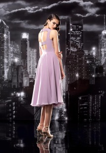 Style #135, midi cocktail dress with mesh v-neck flower embellishment through out the top, chiffon skirt, available in milk, white, cornflower-blue, mint, grey, yellow, green, red, black, lilac, pink, pink-ivory, peach, berry and cool blue