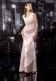 Style #138, one shoulder striped fit and flare floor length gown, available in milk, nude, black, crimson and grey