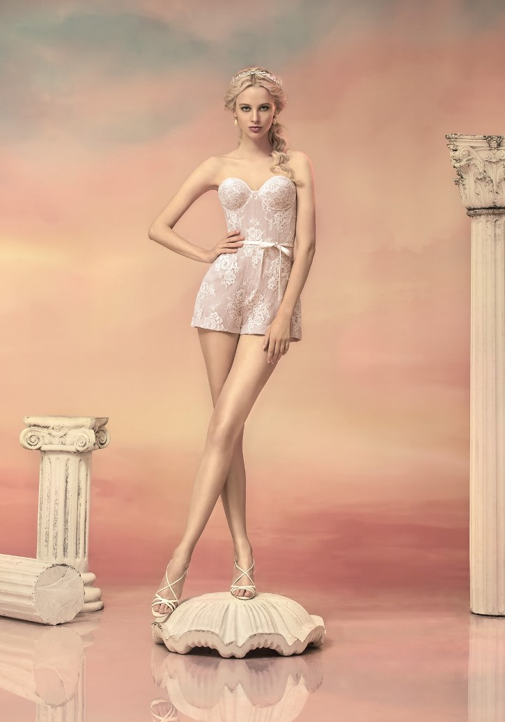 Style #1541, lace bustier romper with tulle skirt, available in white, ivory and black