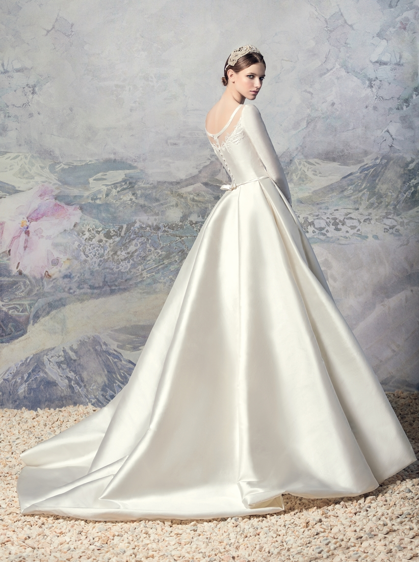 Style #1601L Premium, long seeve taffeta pleated ball gown wedding dress, available in cream