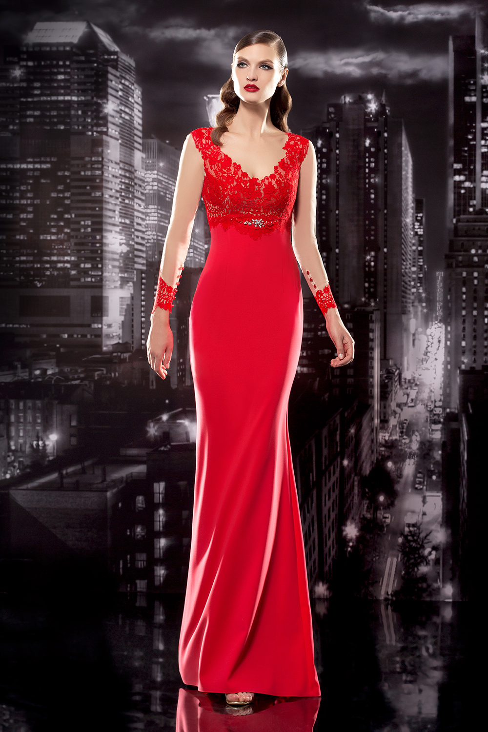 Lace Bodice Gown with Illusion Long Sleeves