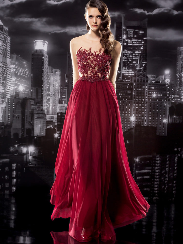Long Sleeve Gown with Beaded Illusion Bodice