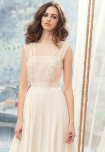 Style #1700L, A-line chiffon wedding dress with beaded lace bodice, available in ivory, ivory-pink (photo)