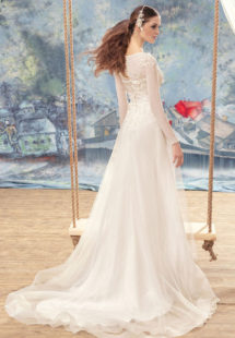 Style #1701L, A-line wedding dress with 3-D floral embroidery, and long chiffon sleeves, available in ivory