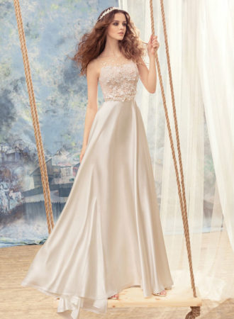 Style #1703L, empire waist A-line wedding dress with 3-D floral embroidered bodice, available in ivory, ivory-pink (photo)