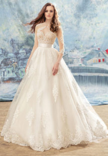 Style #1707L, spaghetti strap ball gown wedding dress with beaded lace bodice and lace appliques down the skirt; comes with a separate 3/4 sleeve illusion lace bolero, available in ivory (with nude cup), ivory (with ivory cup)