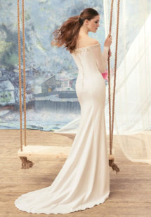 Style #1712L, fitted wedding dress with off the shoulder long sleeves, available in ivory